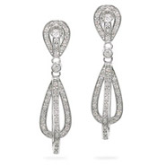 Double CZ Teardrop Sterling Silver Glam Earrings