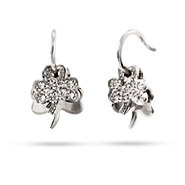 Sterling Silver CZ Lucky Clover Earrings