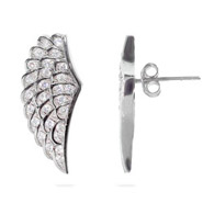 Angelic Sterling Silver CZ Wing Earrings