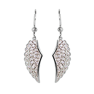 Angelic Sterling Silver Dangling CZ Wing Earrings