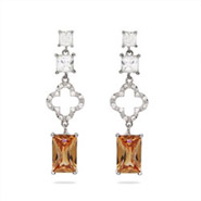 Designer Style Emerald Cut Champagne CZ Clover Earrings