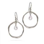 Triple Loop Sterling Silver Earrings with Dangling Crystals