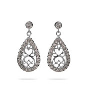 Vintage Scrollwork Silver and CZ Peardrop Earrings