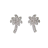 Tiffany Inspired Cubic Zirconia Palm Tree Stud Earrings
