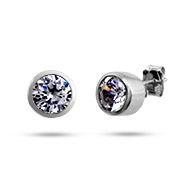 Bling Bling Bezel Set Mens CZ Stud Earrings