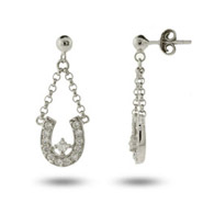 Sparkling CZ Dangling Lucky Horseshoe Earrings