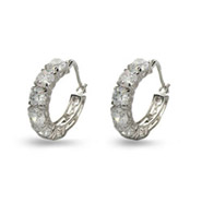Round Brilliant Cut Diamond CZ Six Stone Hoops