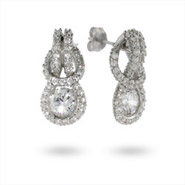 Sterling Silver Pave CZ Eternal Love Knot Earrings