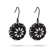 Vintage Style Black & White Flower Design Drop Earrings