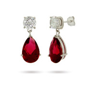 Sterling Silver Ruby CZ Peardrop Earrings