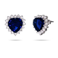 Heart of the Ocean Titanic Inspired Petite Heart Sapphire CZ Studs