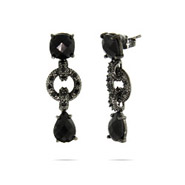 Glamorous Edgy Black Onyx CZ Pave Round Link Earrings