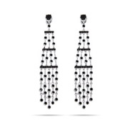 Glamorous Five Strand Silver and Black CZ Chandelier Earrings