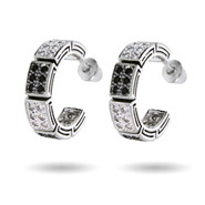 Alternating Two Tone Black and White Pave CZ Hoops