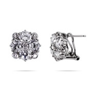 Tiffany Inspired CZ Cluster Flower Earrings