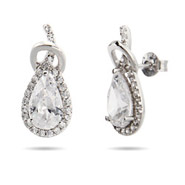 Sterling Silver Stunning Pearcut CZ Love Knot Earrings