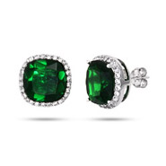 Envious Cushion Cut Sterling Silver Emerald Green Stud Earrings