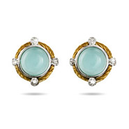 Vintage Design Aqua Chalcedony Gemstone Earrings