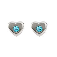 Custom Austrian Crystal Birthstone Heart Stud Earrings