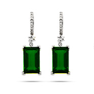 Dazzling Emerald Green Emerald Cut Sterling Silver Dangle Earrings