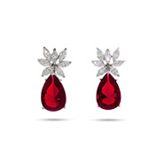 Fancy CZ Pear Drop Sterling Silver Ruby Earrings