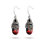 Sterling Silver Marcasite Garnet Glass Drop Earrings