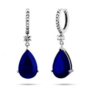 Dangling Peardrop Midnight Sapphire CZ Huggy Earrings
