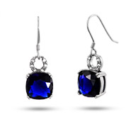 Sterling Silver Cushion Cut Sapphire CZ Dangle Earrings