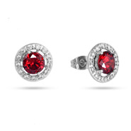 Elegant Ruby and Diamond CZ Halo Earrings