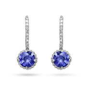 Sterling Silver CZ Tanzanite Drop Earrings