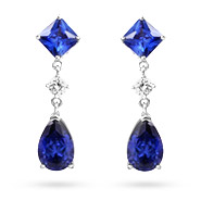 Sterling Silver Tanzanite CZ Peardrop Earrings
