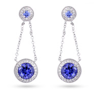 Sterling Silver Chain Link Tanzanite Drop Earrings