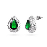 Linda's Pearcut CZ Emerald Green Cocktail Earrings