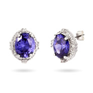 Sterling Silver Crown Set CZ Tanzanite Stud Earrings