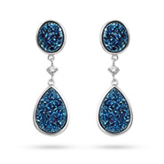 Sterling Silver Peardrop Blue Drusy CZ Earrings