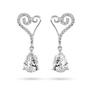 Sterling Silver Romantic Peardrop CZ Earrings