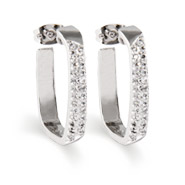 Sterling Silver Pave Cushion Shape Hoop Earrings