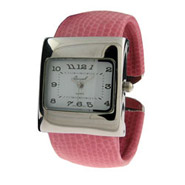 Silvertone Pink Cuff Fashion Watch
