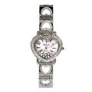 Chopard Inspired Floating CZs Heart Band Silvertone Watch