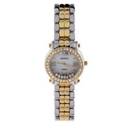 Designer Inspired Two Tone Floating CZs Fashion Watch