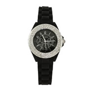 Designer Inspired Bold Black CZ Watch with Rubber Band