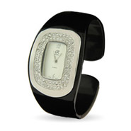 Ladies Classic CZ Black Cuff Watch