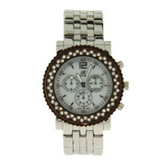 Chocolate Plated Watch with Mother of Pearl and CZ Face