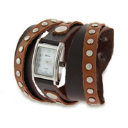 Two Tone Brown Leather Studded Wrap Around Watch