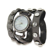 Silver Leather with CZ Studs Wrap Around Watch
