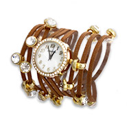 Brown Multi Strand CZ Studed Wrap Around Watch