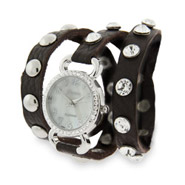 Brown Leather CZ Studded Wraparound Watch
