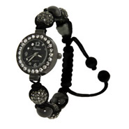 Gray Austrian Crystal and Hamatite Shamballa Style Watch