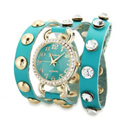 Turquoise Gold CZ Studded Wrap Around Watch