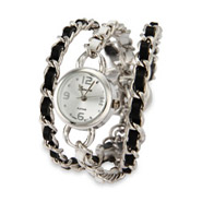 Black and White Leather Multi Chain Watch